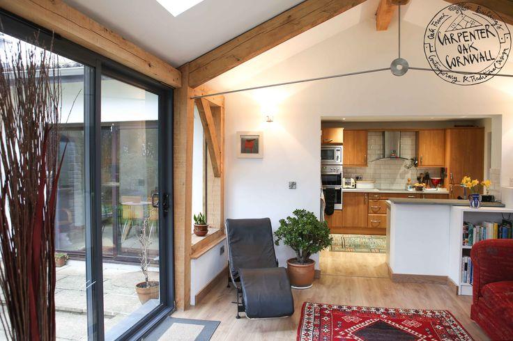 Oak framed extension, over old threshold into kitchen