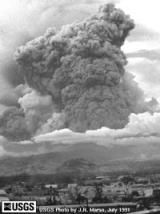 Learn about the 1991 Mount Pinatubo Volcanic Eruption: Mt. Pinatubo eruption plume, July 1991, from Clark Air Base control tower