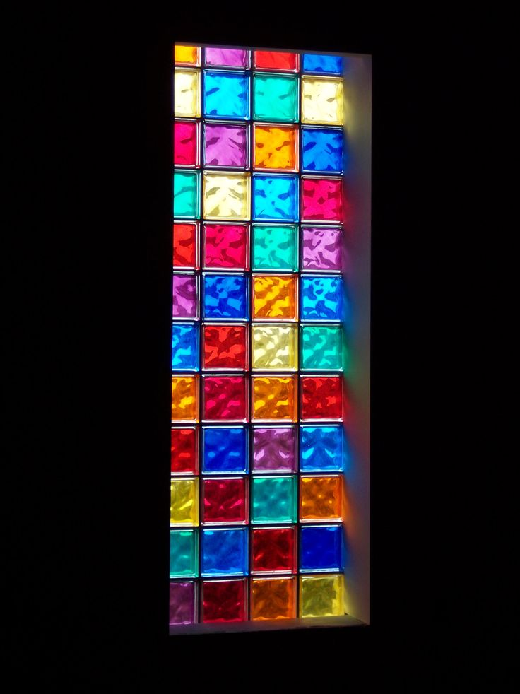 Colored glass block window - would love this for the downstairs bathroom!