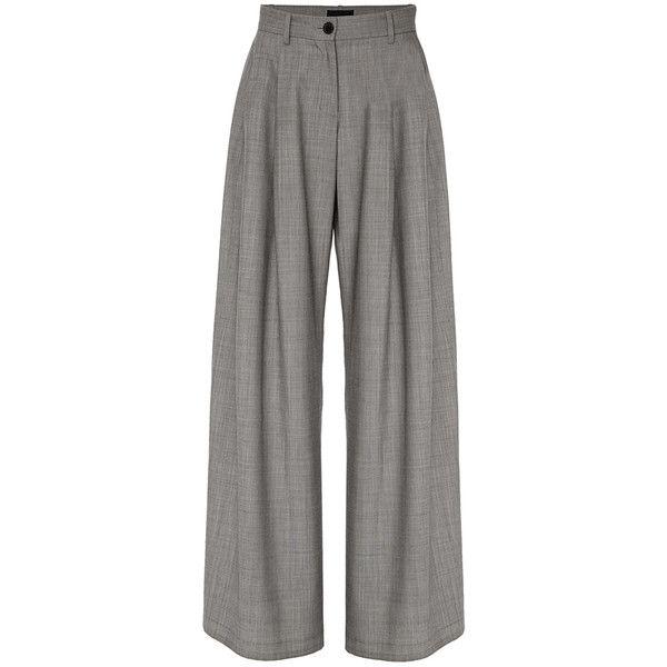 Nili Lotan Inez Pleated Wool Pant ($750) via Polyvore featuring pants, grey, grey wool pants, high rise pants, high-waist trousers, wool pants and gray wool pants