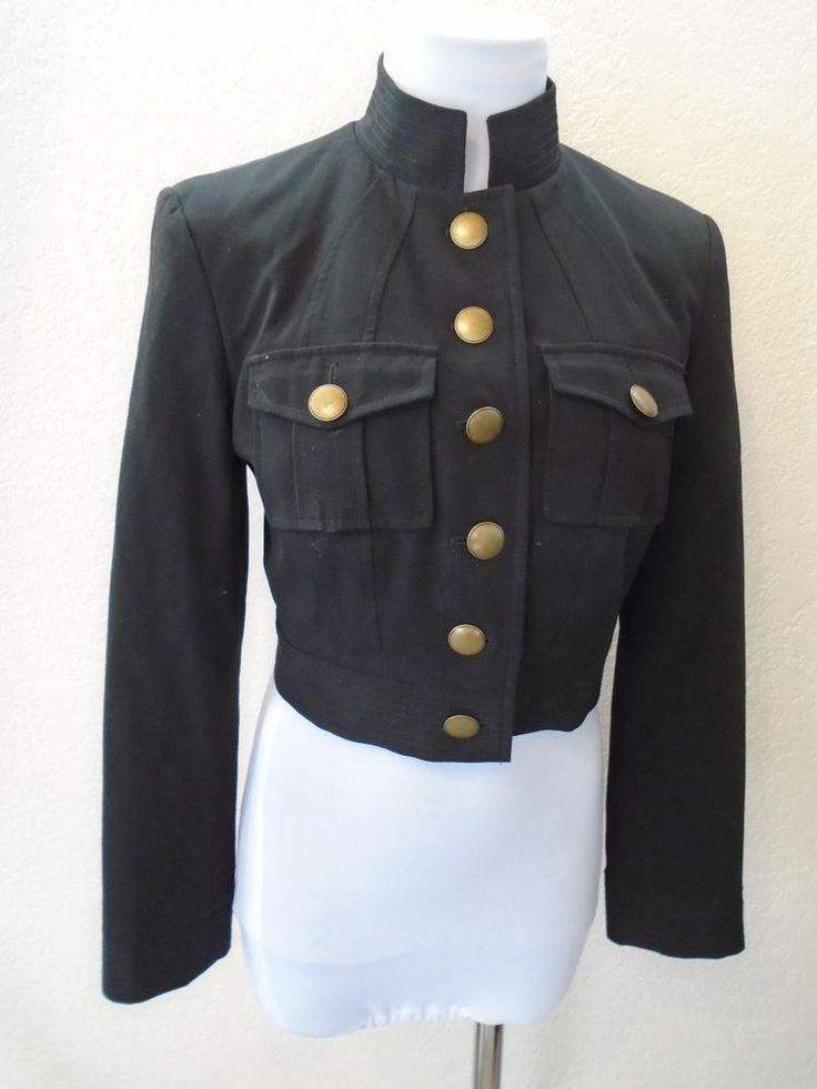 Vintage CHIC Black Brass Accent Buttons Crop MOD Military Cut Blazer Jacket sz M #Unknown #Jacketblazer