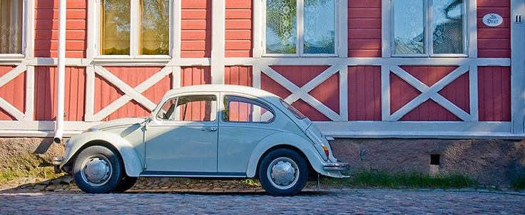 Old car in Old Rauma (UNESCO World Heritage site, btw). Love to walk around there in summer time