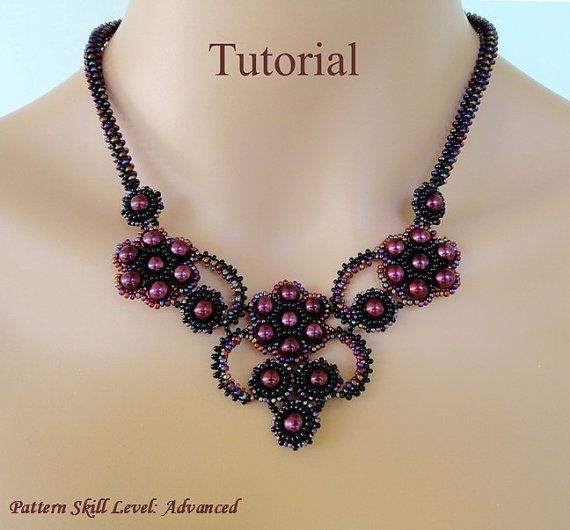 Beading pattern tutorial instructions - beadweaving tutorial beaded seed bead jewelry – beadwoven beadwork necklace - FRENCH KISS