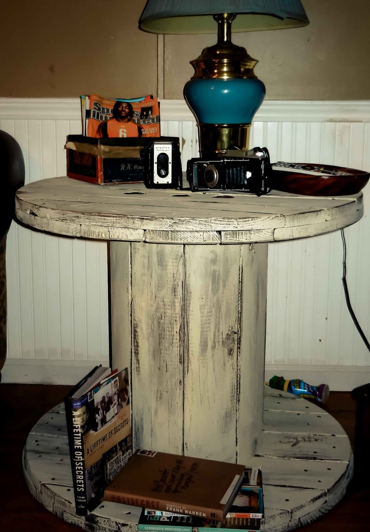 my afternoon wooden spool project ... I love it ... just need to add the dowels to complete it to a bookshelf bottom