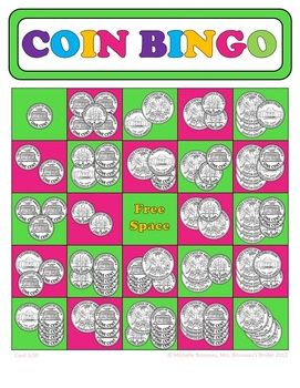 Adding Coins Bingo Cards - Up to 30 Unique Cards! Have fun reviewing coin addition with BINGO. Print & Play! Holiday and Canadian versions available at Mrs. Brosseau's Binder.