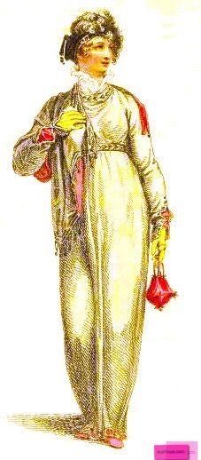 1812  January   Walking Half Dress, English. Empire line high-waisted flowing dress worn with a shawl with pink edging and yellow gloves. Carrying a pink reticule.   Series 1 Volume 7  Engraved Plate via Rudolph Ackermann's 'The Repository' of Arts. via Google Books (PD-150)  suzilove.com