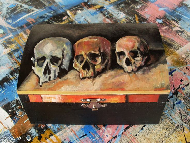 Wooden Box, Wooden Crates, Wooden Storage Boxes, Wooden Keepsake Box, Memory Box, Keepsake Box, Three Skulls by allabouthandicraft on Etsy