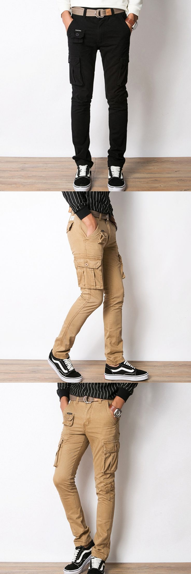 Mens Cargo Pants Slim Straight Black Khaki Army Green Multi Pocket Military 100% Cotton Casual Pants Chinos Long Trousers 203