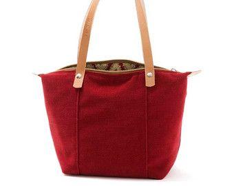 Mini sac à main Sweet Chili, sac en toile, motif Floral, rouge foncé, fermeture supérieure, anses en cuir