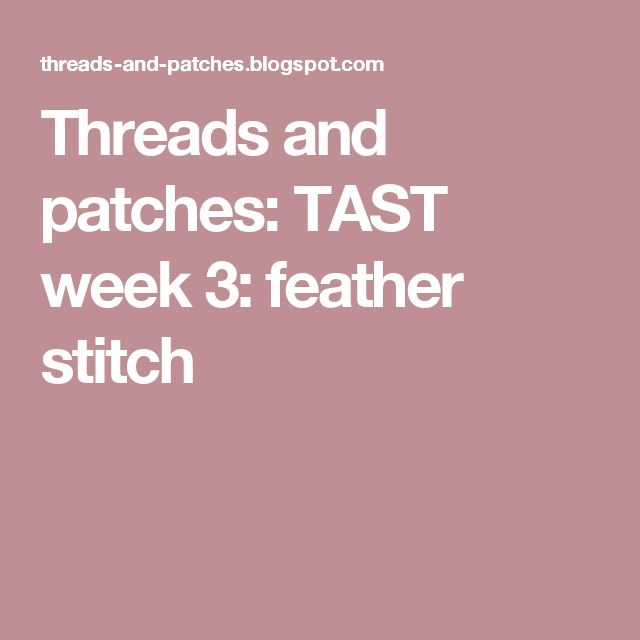 Threads and patches: TAST week 3: feather stitch