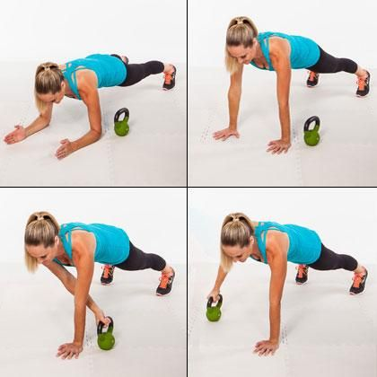 Spider Drags: So hard. So good for your core! Nice variation of the standard plank. Would be fun to try with 24-32kg bell