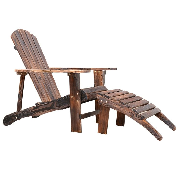 """Outsunny Wooden Adirondack Outdoor Patio Lounge Chair w/ Ottoman - Rustic Brown. Rustic wood color finish. Made of weather-resistant, decay- and rot-resistant fir wood. Relaxed sloping seat with wide armrests. Ample space between arms to accommodate most body types. Overall size: 30""""L x 56""""W x 36""""H."""