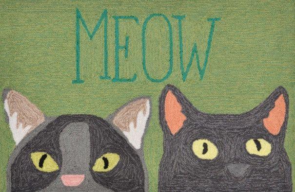 Meow Green Door Mat Indoor/Outdoor