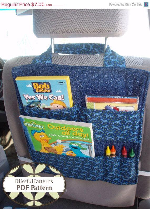 ON SALE Car Seat Organizer - PDF Sewing Pattern - Free shipping -by BlissfulPatterns via Etsy
