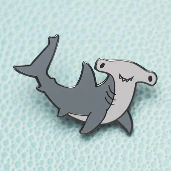 Hammerhead Shark Hard Enamel Lapel Pin ($10) ❤ liked on Polyvore featuring jewelry, brooches, pin brooch, enamel jewelry, pin jewelry and enamel brooches