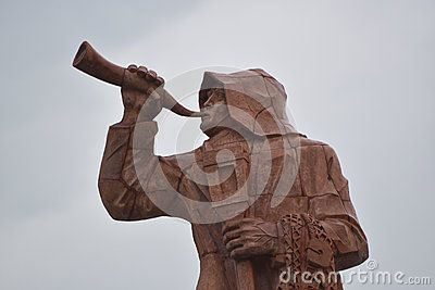 San Benedetto del Tronto, Italy, monument represents the fishermen's outfit during storms, or when, in order to drive attention on the dangers of the impending fog on the sea, they used their horn