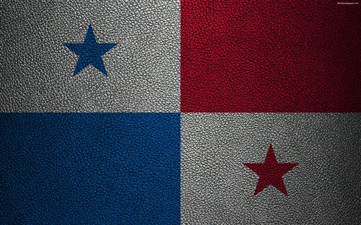 Download wallpapers Flag of Panama, 4K, leather texture, North America, Panama flag, world flags, Panama