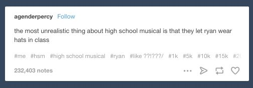 """Tumblr is really just a big blue <i>High School Musical</i> fansite and everybody knows it."""