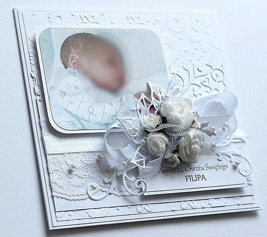 Kartka na chrzest ze zdjęciem maluszka