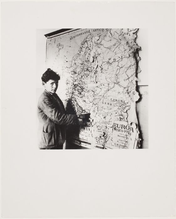 Battle Against Illiteracy, boy pointing to a ragged map, Calabria, Italy 1950
