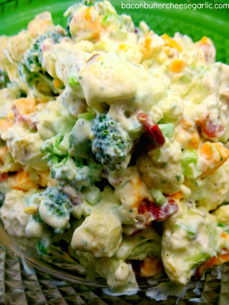 Broccoli & Cauliflower #Salad recipe with Cheddar cheese, #bacon, celery, onions and Ranch dressing.  Deeelish!