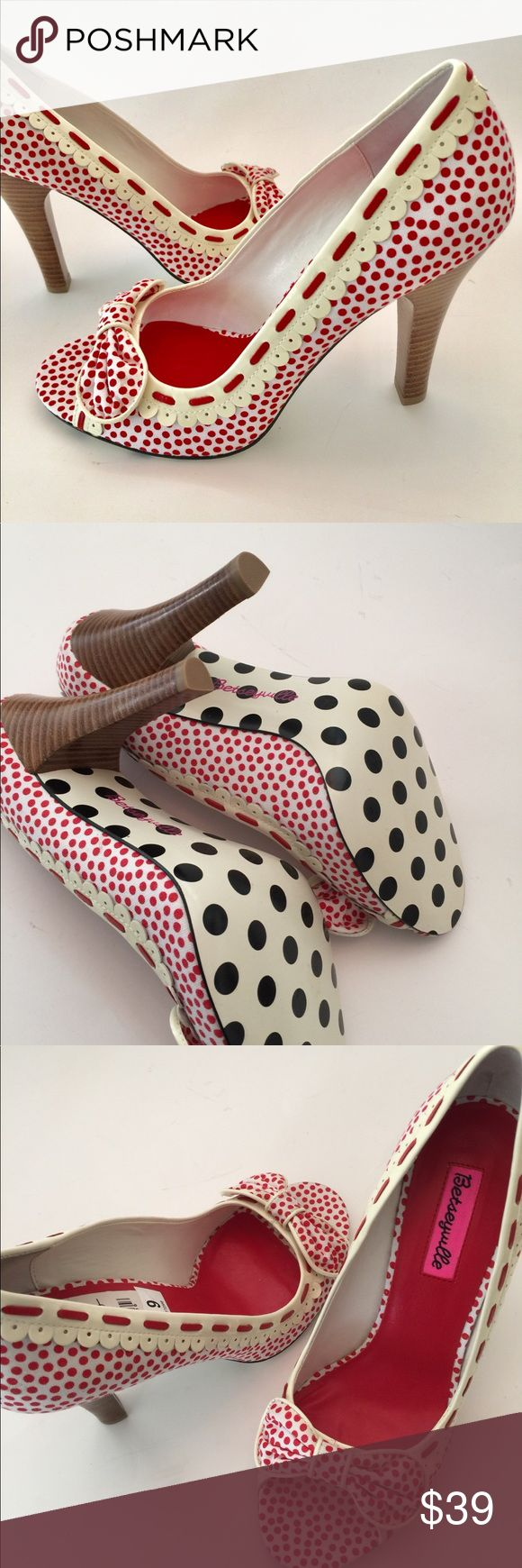 """Betseyville Open Toe 4"""" High Heel Shoes, Sz 9 NWT Betseyville Red Polka Dots on White  Open Peep Toe, Stacked High Heels  Maker: Betseyville by Betsey Johnson  Style Name/Number: Valyn  Material: Fabric  Size: 9  Toe to heel Approx 9.5"""" heel height = Approx 4""""  Retail $99 New with tag  Ships USPS Priority  Adorable shoes!! Thanks for looking! Betsey Johnson Shoes Heels"""