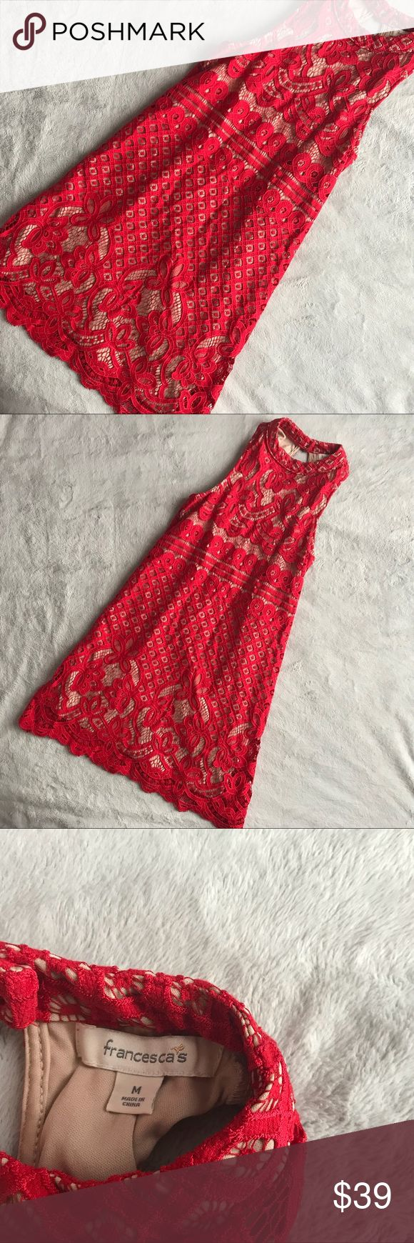 Francesca's Red Lace Valentine Halter Mini Dress Excellent used condition. Halter mini dress by Francesca's Collection in red lace overlay with an attached nude slip dress. Perfect for Valentine's Day. Rounded halter neckline with back button closure. Gorgeous floral and geometric print lace overlay. Sleeveless with fitted bodice and slight flare skirt. Size medium, can also work for a small, see photos for measurements. Francesca's Collections Dresses