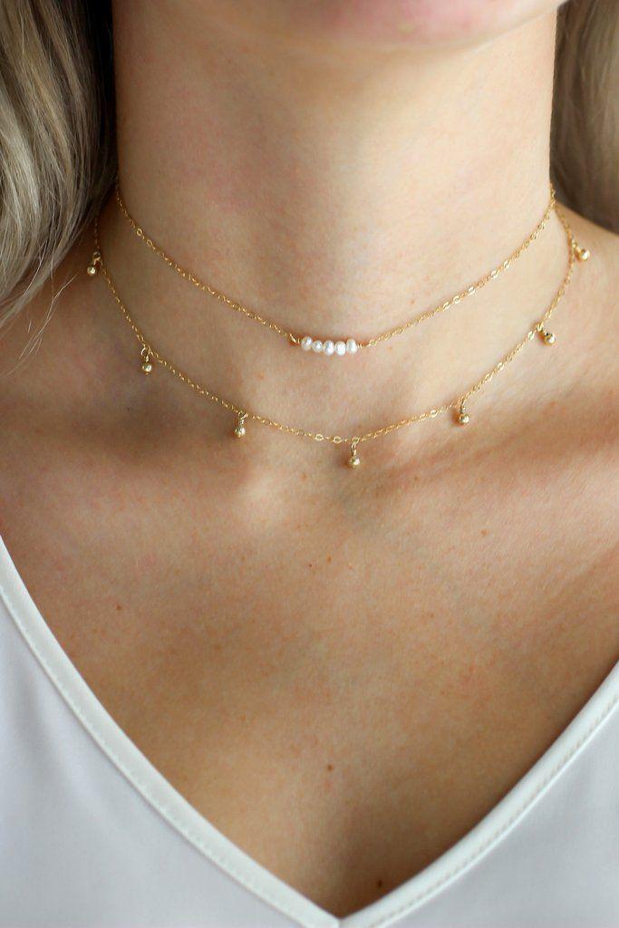 Gold Dust Drop Necklace - Christine Elizabeth Jewelry #affordable-minimal-jewelry #charm-necklace #choker