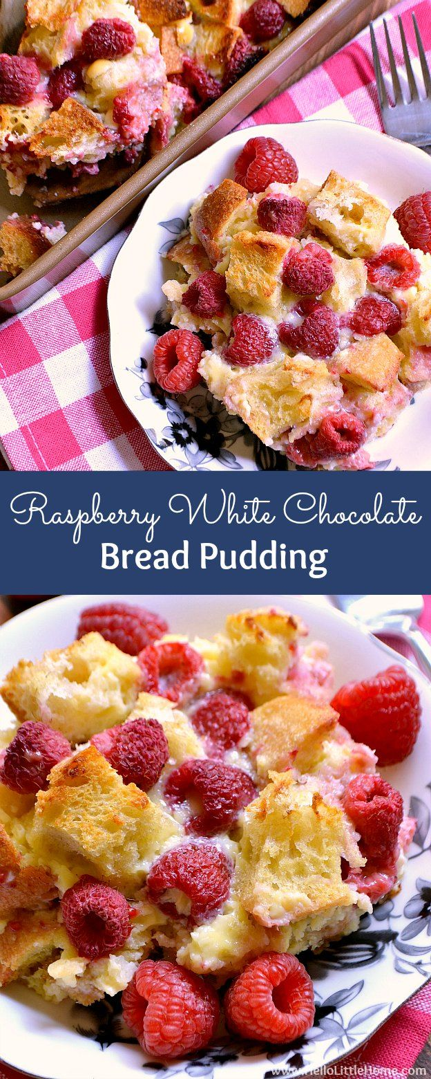 Raspberry White Chocolate Bread Pudding ... yum! Learn how to make this easy bread pudding recipe that's filled with fresh raspberries and sweet white chocolate chips ... it's a simple dessert recipe and perfect for Valentine's Day or anytime you're craving a sweet treat! | Hello Little Home #breadpudding #dessertrecipe #sweettreat #raspberries #whitechocolate