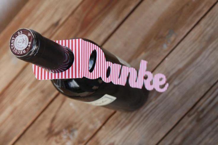 Geschenkanhänger - Flaschenanhänger DANKE  - ein Designerstück von GenieOnABottle bei DaWanda