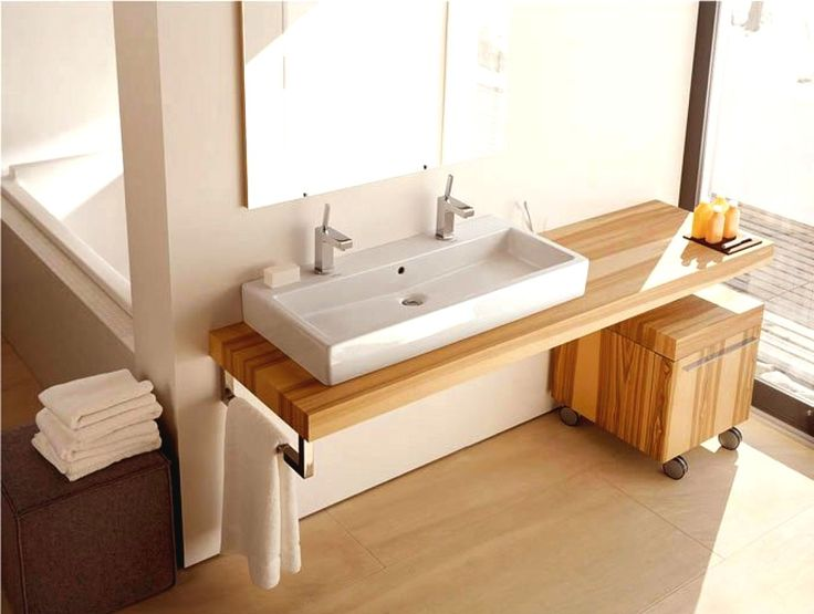 Stylish Modern Design Of Floating Bathroom Sink And Vanities With Rectangle White Ceramic Porcelain Vessel Basin Make Use Of Double L…