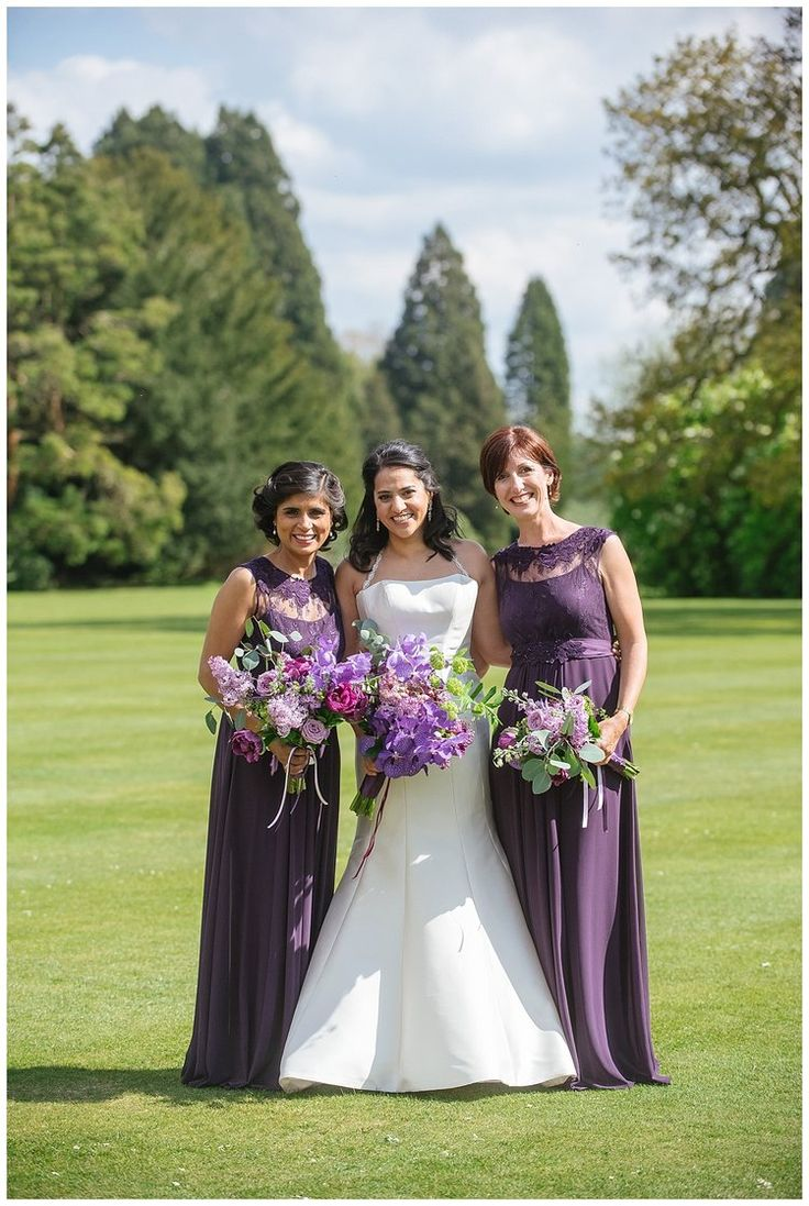 Ashridge House Wedding venue, Hertfordshire. Orchids & English Lilac bouquets for an Indian bride & her bridesmaids