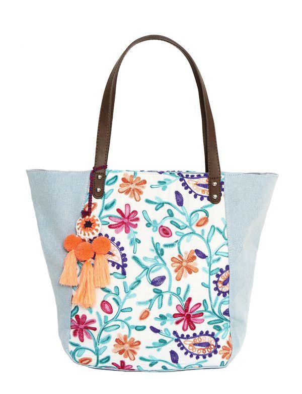 modische Handtasche , Jeans City Bag , It-Bag , günstiger Jeanscaban, bestickte Handtasche , Jeans-Handtasche mit Stickerei