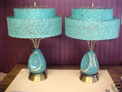 Mid-Century Modern •~• aqua / turquoise table lamps with Fiberglass shades