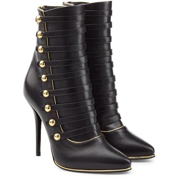 Balmain Leather Boots (16.262.720 VND) ❤ liked on Polyvore featuring shoes, boots, ankle booties, heels, ankle boots, black, high heel stilettos, black stiletto booties, black leather boots and black ankle booties