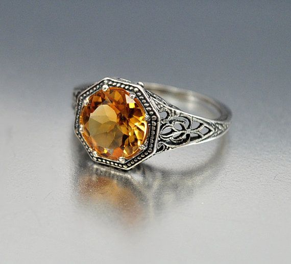 Perfect Vintage Sterling Silver Filigree Citrine Ring Size Engagement Ring Art Deco Wedding Jewelry