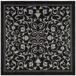 Courtyard Indoor/ Outdoor Resorts Black/ Sand Polypropylene Rug (7'10 Square)