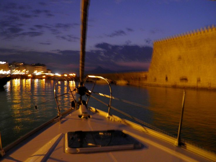 Reaching the old #Venetian harbor Koules of Heraklion city!  Photo taken on #Blu boat! Travel with our #sailing boat and live the dream! sailingtheblu@gmail.com