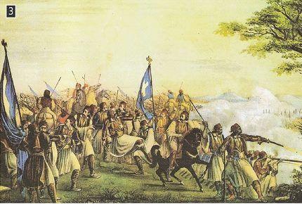 Μάχη των Αθηνών - Θάνατος του Καραΐσκάκη, Εθνικό Ιστορικό Μουσείο.  Επιχρωματισμένη λιθογραφία αγνώστου Ιταλού ζωγράφου (κατά παραγγελία και υποδείξεις του Α. Ησαΐα).