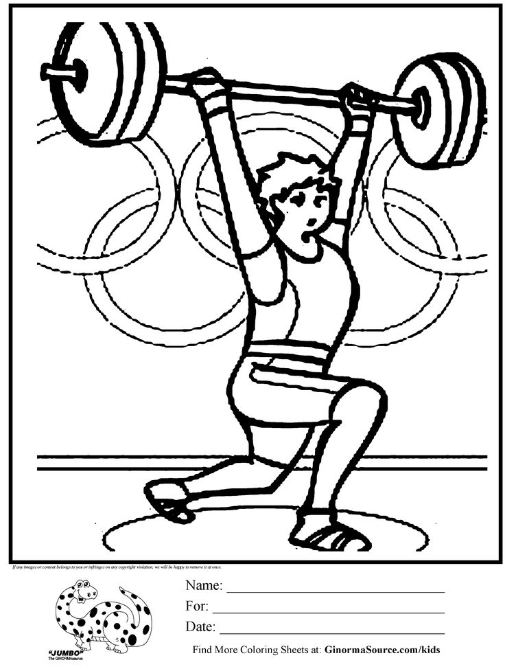 Olympic Weight Lifting Coloring Page