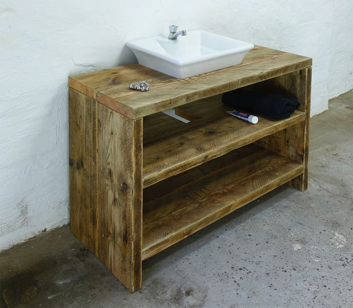 Wasch Tisch Aus Aufgearbeitetem Bauholz, Konsole   Bad Unterschrank,  Waschtisch Aus Aufgearbeiteten Bauholz! Maße: 100 X 75 X 45 Cm Ohne  Waschbecken Und ...
