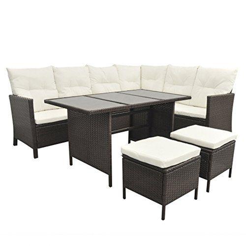 SSITG 8Person Poly Rattan Garden Furniture Set Furniture Lounge Black