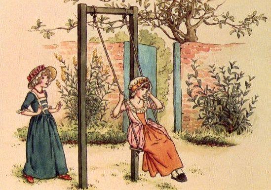 Kate Greenaway Two girls in a garden 1993 by CuteEyeCatchers