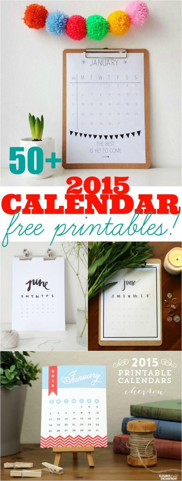 Meer dan 50 + AWESOME 2015 gratis printbare kalenders !!  Je