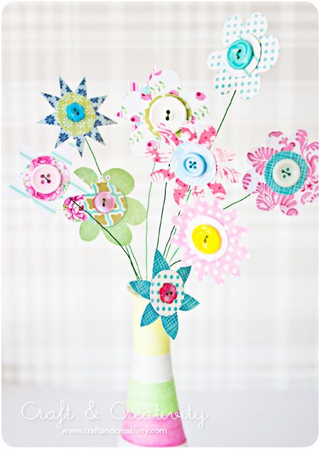 Paper flowers with buttons