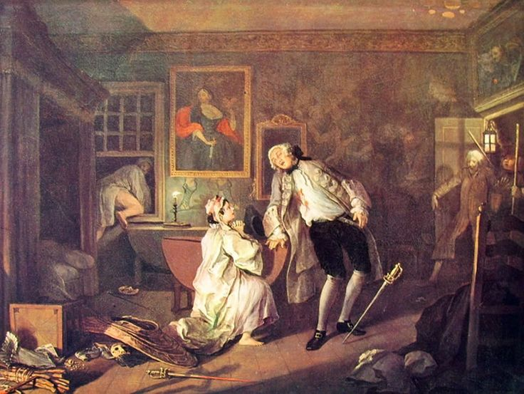 Matrimonio alla moda (5) - Morte di lui, William Hogarth; 1744; olio su tela; National Gallery, Londra