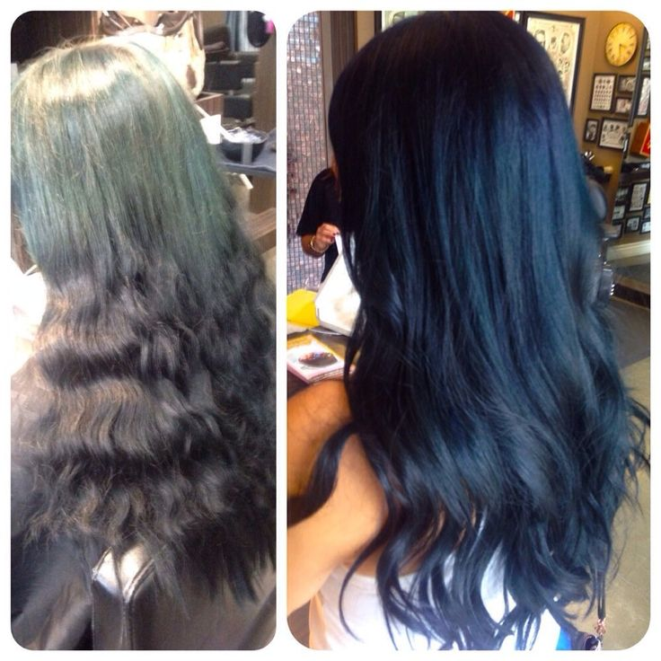 Stay Gold Salon - Fullerton, CA, United States. Navy blue hair before and after by Sara!