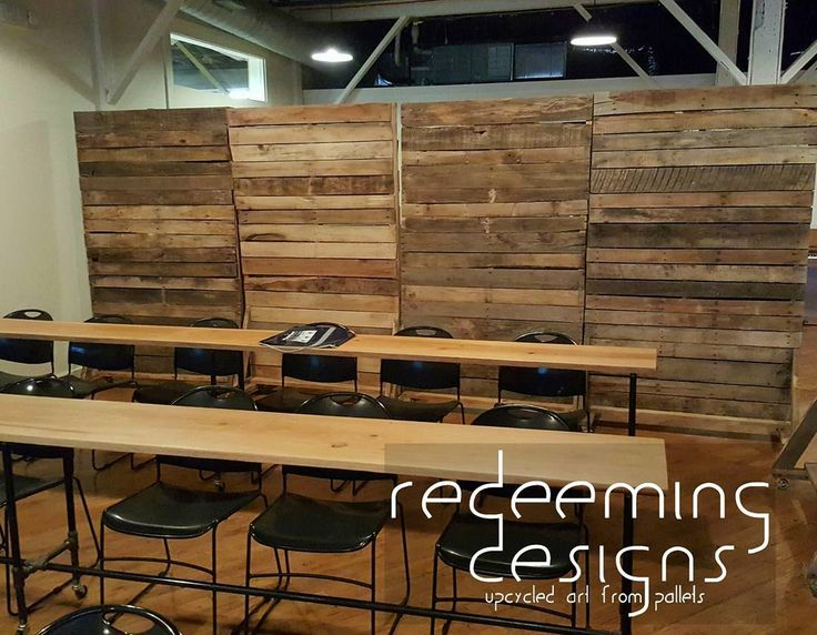 Here are 4 of our rolling pallet walls being used together for Reclaimed wood dc
