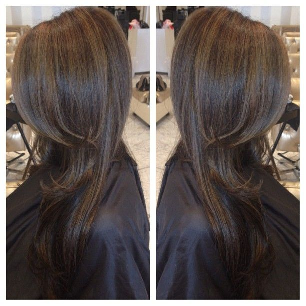 Chocolate brown hair colour with dark caramel highlights gives a very, soft natural look. 'Highlights' doesn't necessarily mean blonde!