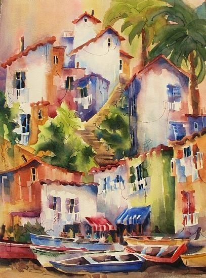 "Seaside Sorrento by Jinnie May Watercolor ~ 30"" x 22"""